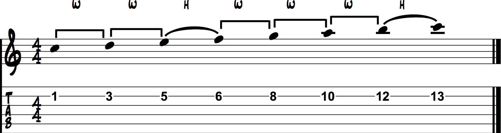 Guitar major scale example 3